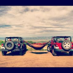 Jeep. Hammock. Jeep. When I get mine, we will be doing this.