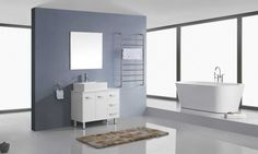 Virtu USA Maybell 55 inch Double Sink Bathroom Vanity Set in White w/ Square Vessel Sink, White Engineered Stone Countertop, Single Hole Polished Chrome, 2 Mirrors - Small Bathroom Vanities, Single Bathroom Vanity, Engineered Stone Countertops, Contemporary Bathroom Designs, Modern Design, Round Sink, Square Sink, Brushed Nickel Faucet, Cabinet Dimensions