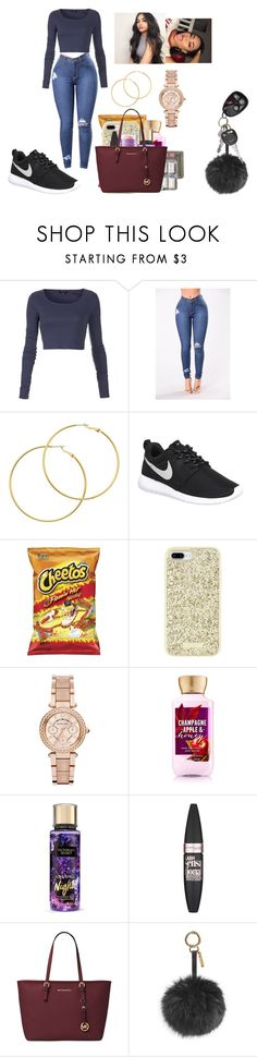 """""""You been saying all the right things all night long"""" by chanel-xoxo123 on Polyvore featuring Topshop, Melissa Odabash, NIKE, Kate Spade, Michael Kors, Victoria's Secret, Maybelline and Fendi"""