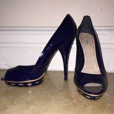 Miu Miu Blue Patent Leather Whipstich Pump 10 NWOT Miu Miu Blue Patent Leather Whipstich Platform Pump.  Contrasting beige stitching.  Never worn.  No box but does come with dust cover.  40/10 NWT Miu Miu Shoes