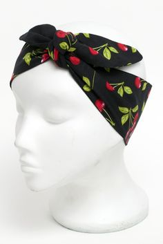 Black Cherry Fabric head scarf.  Vintage style 50's rockabilly roller derby black cherry print fabric head scarf with black reverse.  http://bad-kitty.co.uk/