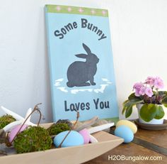 Easy easter hostess gift ideas easter easy and gift some bunny loves you easter sign with template negle Image collections