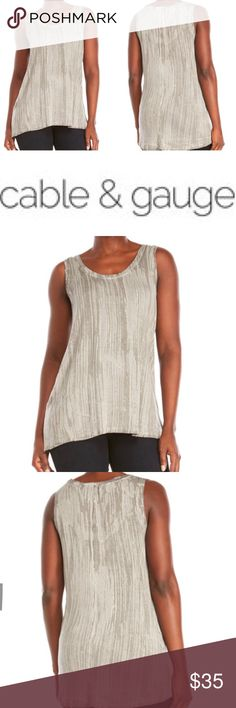NWT Beautiful Grey Tie-Dye Inspired Print Tank Gorgeous sleeveless high-low hem grey-ish colored tie-dye inspired print tank from Cable and Gauge NWT! Shades of grey, white and cement colors. Super flattering, loose and flowy fit. Cable & Gauge Tops Tank Tops