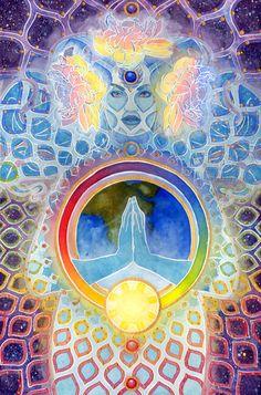 Goddess Aditi - Rainbow Art - Sacred Geometry - Original Psychedelic Goddess Art