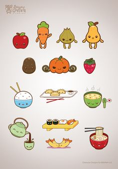 Cute/Kawaii Food Illustration Set by Michele Liza Pelayre, via Behance