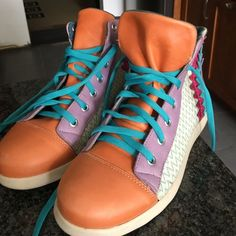 Bought in Argentina Colorful Leather Sneakers Worn Once Striking Colorful Sneakers Soft Leather Shoes Sneakers