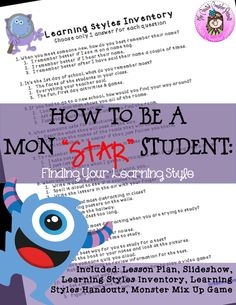"""How to be a Mon""""STAR"""" Student: Learning Styles Monster Guidance Lesson Learning Style Quiz, Learning Style Inventory, Learning Styles, Elementary School Counselor, Elementary Schools, Cooperative Learning, Student Learning, Study Habits, Study Tips"""