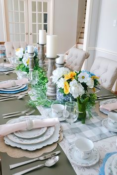 Today I am finally sharing our complete dining room reveal plus our spring tablescape. Great for Easter too! China Hutch Makeover, Antique Tea Sets, Lemon Wreath, Easter Table Settings, China Sets, Faux Flowers, China Dinnerware, Floral Style, Petite Fashion