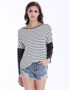 Black White Striped Contrast PU Leather Sleeve T-shirt 10.50