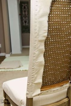 DIY idea for upholstering cane backed dining chairs Bless'er House   Restoration Hardware Knock Off No Sew Dining Chairs