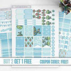 Colorful Fish Planner Stickers Printable, Erin Condren Stickers, Monthly/Weekly Kit, Printable Sampler, Eclp, Erin Condren, Instant download
