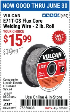 Harbor Freight Coupon, Harbor Freight Tools, Flux Core Welding, Welding Wire, Galvanized Steel, Coupons, Coding, Coupon, Programming
