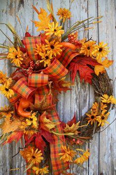 Fall Wreath, Mini Sunflowers, Gourds, Fall Leaves, Plaid RIbbon, via Etsy.