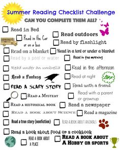 Summer Reading Challenge Checklist - FREE printable!