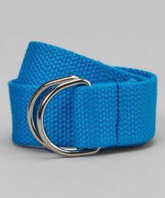 Kids Boys Girls Sea Blue D ring Webbing Belt