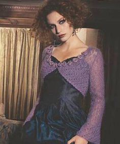 knit Rowan long-sleeved glittery shrug: free knitting pattern