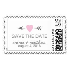 Modern Save the Date Wedding Pink Gray Postage Stamp.  Personalized wedding postage. Pink heart  => http://www.zazzle.com/modern_save_the_date_wedding_pink_gray_postage-172409831223789227?CMPN=addthis&lang=en&rf=238590879371532555&tc=pinWideasSavetheDatepinkheartarrow