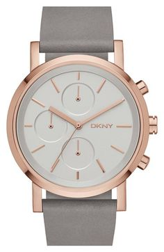 DKNY 'Soho' Chronograph Leather Strap Watch, 38mm available at #Nordstrom