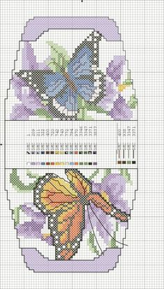 Cross stitch butterfly and chart. gráfico per estisores