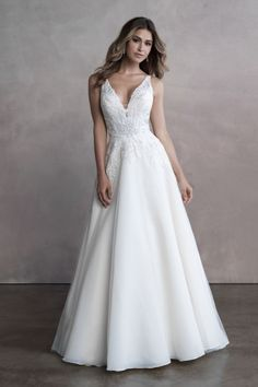 Richly detailed at the bodice, this beautifully classic bridal gown features a gorgeous train. Wedding Dress Boutiques, Designer Wedding Dresses, Wedding Gowns, Wedding Hair, Wedding Stuff, Wedding Ideas, Allure Couture, Vestidos Boutique, Bridal Dresses
