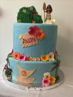 Moana birthday cake #thecakestandvta Hawaiian flowers moana Disney movie