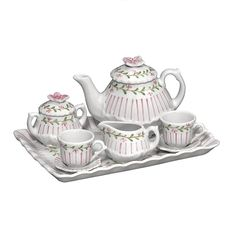 """ANDREA by SADEK DOLL'S PORCELAIN TEA SET PINSTRIPE PINK. Now your child's doll can have her own Pinstripe Pink Tea Set to match hers! The miniature version includes the pieces shown: TeaPot, Creamer, Sugar, Two Cups and Saucers and the ruffled Tray which measures 7.5""""L. http://www.cherrygal.com/andreabysadekdollsporcelainteasetpinstripepink-p-14863.html"""
