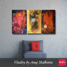 Vitality by Anuj Malhotra - http://www.artflute.com/artworks/view/vitality  Triptych Artwork (3 Paneled) for your living room.   Tip: Add a tinge of red to your decor to give it a perfect look.  #art #wall #homedecor #artwork #paintings #triptych #3panel #red #yellow #abstract #NoMoreEmptyWalls