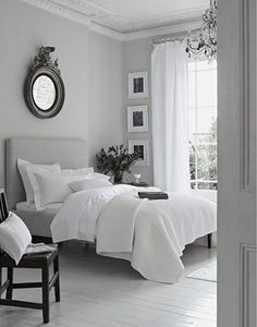 peaceful grey white bedroom