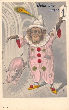 circus monkey clown pig New year fantasy card luck
