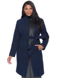 Quilted Faux Leather Lapel Coat | Women's Plus Size Jackets | ELOQUII
