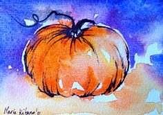 Pumpkin  - original watercolor postcard, halloween. $30.00, via Etsy.