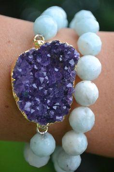 Druzy bracelet w/ Amethyst geode, 24k gold wrap with Czech glass beads on Etsy