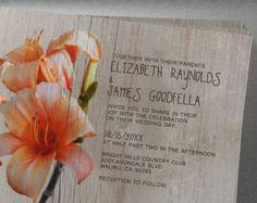 Rustic Tiger Lilies Wedding Invitation