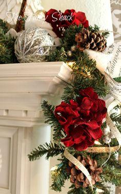 Beautiful Christmas garland draped over the Mantle. Christmas Fireplace, Christmas Mantels, Noel Christmas, Merry Little Christmas, Winter Christmas, Christmas Wreaths, Southern Christmas, Christmas Ideas, Elegant Christmas