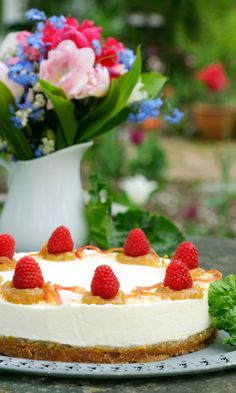 Raparperi-kookos-tuorejuustokakku   Maku Cheesecake, Baking, Desserts, Recipes, Food, Tailgate Desserts, Deserts, Cheesecakes, Bakken