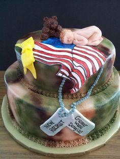 Fondant military camo baby cake Designs by Tya