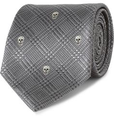 Alexander McQueen Skull-Embroidered Prince of Wales Check Silk Tie   MR PORTER