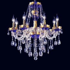Chandelier lights royal blue and gold - Google Search