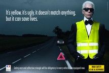 Karl Lagerfeld Stars in Road Safety Campaign Karl Lagerfeld, Fendi, Funny Posters, Great Ads, Creative Advertising, Advertising Ads, Save Life, Best Funny Pictures, Being Ugly