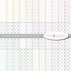 Digital Scrapbook Paper - Stitched