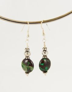 Azurite Malachite Sterling Silver Earrings Dangle Ovals by BaconsKeepers