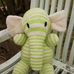 Elephant Teddy Toy Hand Knitted   AlfieJayne - Toys on ArtFire