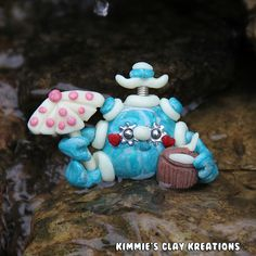 Polymer Clay Robot I Love the Beach Front View Glow Figurine - Miniature Whimsical Character Sculpture - Simply Charming Mini Aquatic Sea Robots_0569
