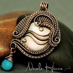 A bohemian accessory is this lovely hand woven, wrapped and coiled copper pendant, featuring layers of thin wire placed in delicate waves, expressing movement, serenity and creativity. A faceted bright blue chalcedony dangles from the side, creating a beautiful sense of asymmetrical whimsy. Penda...