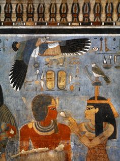 Egypt, Thebes (UNESCO World Heritage List, - Luxor. Tomb of Amenhotep III. Vulture goddess Nekhbet grasps amulet in her claws for protection (Dynasty Amenhotep III, BC) Ancient Egyptian Art, Ancient History, Art History, Amenhotep Iii, Old Egypt, Egypt Art, Kemet Egypt, Egypt Museum, Art Ancien