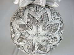 Quilted Christmas Ornament Ball/Gray and by YouniqueOrnaments