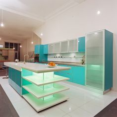 Houzz - Home Design, Decorating and Remodeling Ideas and Inspiration, Kitchen and Bathroom Design Kitchen Interior, New Kitchen, Kitchen Decor, Green Kitchen, Apartment Kitchen, Kitchen Ideas, Home Remodeling Contractors, Blue Kitchen Cabinets, Turquoise Kitchen