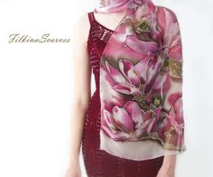 Magnolia Silk Scarf Hand Painted Silk Chiffon Magenta Bordeaux Pink Scarf Flower scarf Wedding Bridal Scarf Silk Painting Gift for Her Crazyadsteam Hand painted silk chiffon scarf with beautiful and delicate blooming flowers of Magnolia tree in bordeaux and dark pink/magenta colors with white contour.  Gentle and elegant floral long natural silk chiffon scarf with blooming Magnolia tree.  .