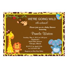 Jungle Friends Baby Shower Invitations