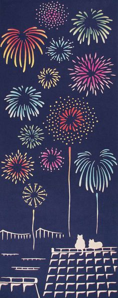Japanese Tenugui Towel Cotton Fabric, Kawaii Kitty Cat, Firework Design, Hand Dyed Fabric, Modern Art Fabric, Wrapping, Home Decor, JapanLovelyCrafts
